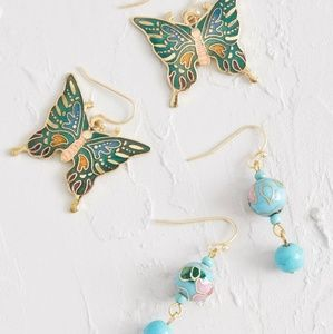 Modcloth Festive Flight Butterfly Earring Set